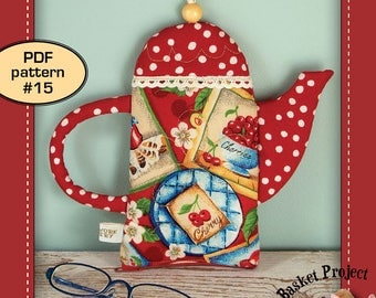 Teapot Pouch ( quilted patchwork tea coffee zipper bag wallet purse quilt pattern )