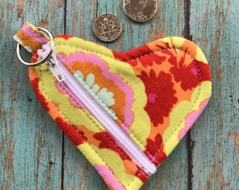 Heart Pouch-zipper pouch-coin purse-ear bud holder-pouch keychain-valentines day-floral