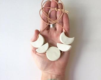 mini white moon ceramic handmade necklace