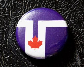 """1"""" Toronto ON flag button - Ontario, Canada, city, pin, badge, pinback"""