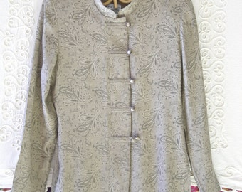 Vintage 80s Soft Muted Green Asian Style Jacket Blouse Size 6P  R&M Richards by Karen Kwong