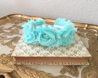 tiffany blue Flower Girl Headband.Aqua Flower Girl Headband.tiffany blue Headpiece.tiffany blue hair piece.aqua blue headband.bridesmaid