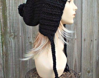 Black Slouchy Hat Knit Hat Womens Hat Black Hat Black Slouchy Beanie - Charlotte Slouchy Ear Flap Hat - Black Winter Hat