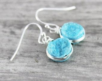 Light Blue Druzy Earrings, Sky Blue Earrings, Druzy Gemstone Earrings, Wire Wrap Earrings, Sterling Silver Earrings, Silver Dangle Earrings