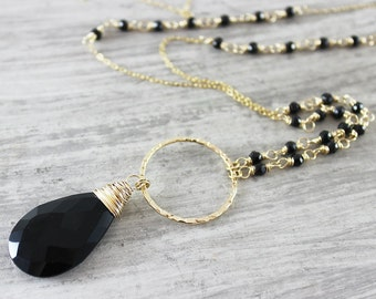 Long Gold Necklace, Black Onyx Necklace, Wire Wrapped Necklace, Layering Chain Necklace, Onyx Gemstone Necklace, Large Pendant Necklace