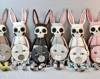 Made-to-Order SKelly Bunny Rabbit Hand-Painted Original Folk Art Soft Sculpture Doll OOAK