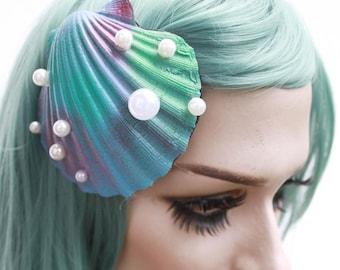 Blue Mermaid oyster shell fascinator hair clip