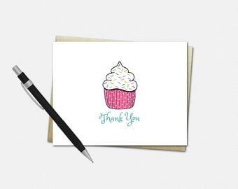 Cupcake Thank You Card - Cupcake Party Thank You Card - Cupcake Thank You Card - Set of 10 - Cupcake Thank You Cards