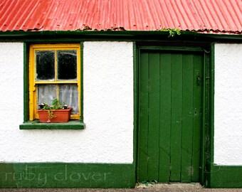Cottage With Green Door, IRELAND Photography, Colorful Window, Flower Box, Irish Cottage Photo, Co. KERRY, Tralee, Yellow Window, Killarney