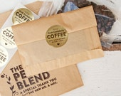 Gold Foil COFFEE Stickers - Wedding Favor Stickers - Wedding Favors -  24 Stickers