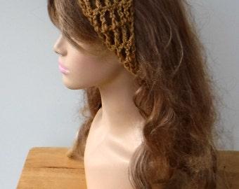 Light Brown Dread headband dreadband head hair band wrap scarf hippie crochet bandana, warm brown coffee crochet tie head band
