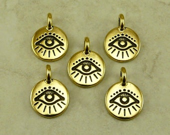 Evil Eye Round Stamp charm > Curse Protection Amulet Talisman Greece Egypt - 22kt Gold Plated Lead Free pewter I ship Internationally 2504