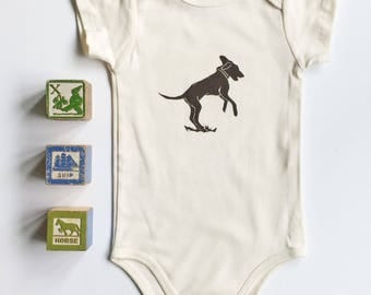 Dog Playing Organic Cotton Short Sleeve Onesie_ made in Seattle-also available in long sleeve