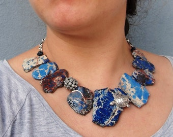 Caretta Caretta Necklace, High Seas Sea Urchin, Necklace Variscite, Lapis Lazuli Sterling Silver Ocean Statement jewelry