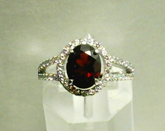 9x7mm Red Garnet Gemstone and 1mm White Cubic Zirconias in 925 Sterling Silver Ring Size 7 or Size 10 January Birthstone