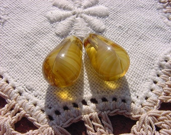 Golden Topaz Givre Swirl Drop Vintage Glass Beads