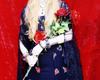Preciously Darling Black Lace and Red Floral Maleficent Gothic Spring Robe Jacket Ooak