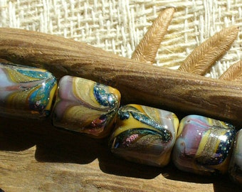 lampwork beads/sra lampwork/glass beads/beads/organic/earthy.silver/nuggets/art nouveau/feathered/