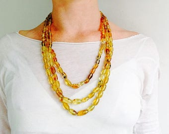 Multi-Strand Amber Nugget Bead & Liquid Silver Necklace. Chiapas Amber. Hand hewn. Sunshine!