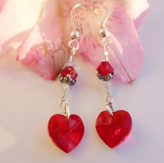 Valentine Swarovski Crystal Earrings Ruby Swarovski Crystals