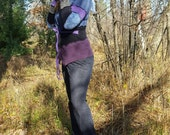 Blues, purples, and black recycled sweater hoodie - MEDIUM - reserved for Stace