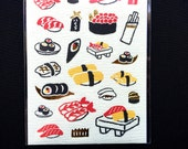 Sushi Stickers - Japanese Washi Paper Stickers - Chiyogami Stickers - Traditional Japanese - Food Stickers  (S59)