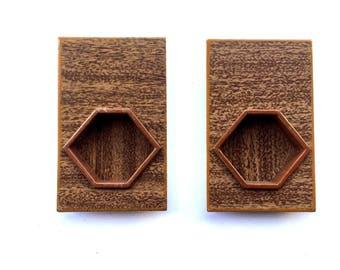 Japanese Door Pulls - Sliding Door Pulls - Pocket Door Pulls - Japanese Vintage Door Pulls Brown Wood DP5-23