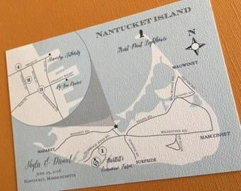 Nantucket Island custom wedding map, digital file