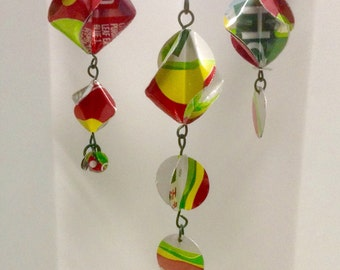 Upcycled Christmas Ornaments Repurposed Sierra Mist Cranberry Soda Cans Red Green and Yellow