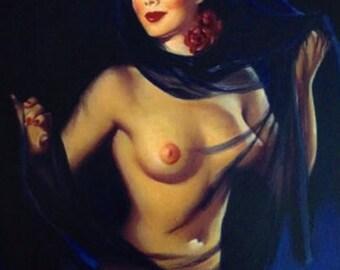 HUGE Estate Sale! Elvgren -ELEGANCE Nude - ORIGINAL Painting 20X24 Rare 1998 Pinup Vancas of Rare Nude