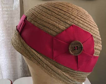 Revived 1920s straw cloche hat with raspberry grosgrain ribbon
