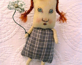 sweet little art doll , sandy mastroni, red head art , redhead , whimsical wall art ,shelf art,