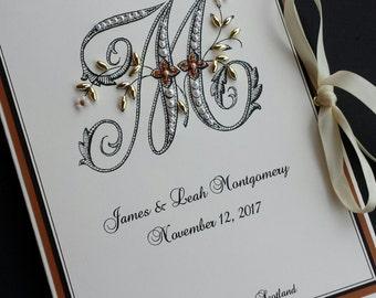 Monogram Wedding Photo Album,  Personalized Photo Book, 5x7 Photos, Hand-Beaded, Petite Photo Book, Customized Album, Anniversary Keepsake