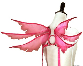 Kate No. 2 - Small Organza Fairy Wings in Hot Pink - Strapless Convertable