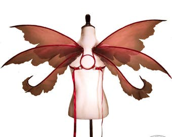 Ella No. 3 - Medium Organza Fairy Wings in Magenta, Pink and Black - Convertable Strapless
