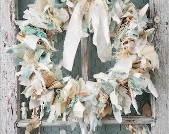 Wreath, Burlap & Lace Wreath, Pastel Fabric Wreath, Shabby Chic Wreath, Wedding Decor, Nursery, Shower, Table Centerpiece, Farmhouse Accent