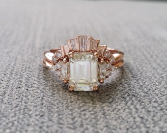 """Antique Moissanite and Diamond Wedding Band Tapered Baguette cut Art Deco Classic Rose Gold timeless PenelliBelle Exclusive """"The Margo"""""""