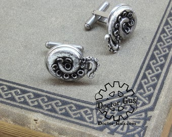 Tentacle Cuff Links - Cthulhu Cephalopod Accessories by Doctor Gus - Suit and Tie - Men's Gifts - Octopus Lovecraft Tentacle Steampunk