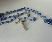 Vintage Faceted Blue Violet Rosary Silver Cross Metal Crucifix Medal Bright Blue 1st Communion Confirmation Something Old Blue Bride Gift