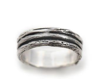 Handmade Triple Twig Sterling Silver Wedding Ring