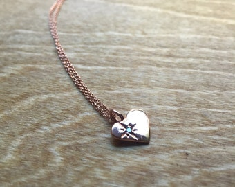 Diamond Starlight Heart Pendant in Rose Gold Plated Pink-Silver