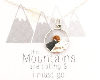 The Mountains are Calling and I Must Go -  gift for her -  mountain necklace, Sterling silver necklace, jewelry gift for hiker, sunrise, ski