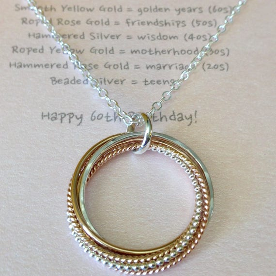 Tricolor six entwined rings necklace with necklace meaning like this item aloadofball Image collections