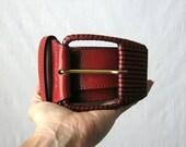 Leather Belt Wide Belt 1980s Red Belt Italian Leather Waist Cincher Belt S - M