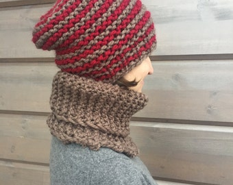Chunky, slouchy, soft and warm red and brown winter hat STINA and neck warmer