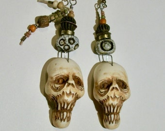 Skull Earrings, Mummy, Shrunken Head, Zombie, Rustic, Voodoo, Skeleton, Horror Jewelry, Zombie Head Earrings