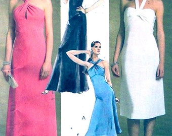 Prom Grad dress halter style sewing pattern McCalls 5100 New Years party frock bridesmaid size 4 to 10 Uncut