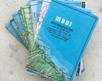 Slim Wallet- Vintage Maui Hawaii Map- Choose 1
