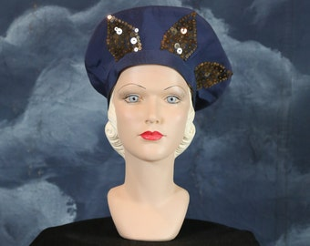 Vintage 1940s Sequined Beaded Flower Saucer Hat by New York Creations