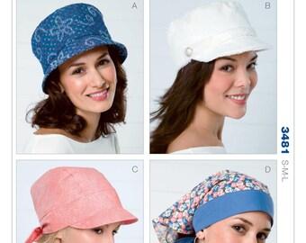 Hats 4 Styles Head Wraps, Bucket Sytyle Hat Kwik Sew Pattern 3481 Size S M L Uncut & Sealed